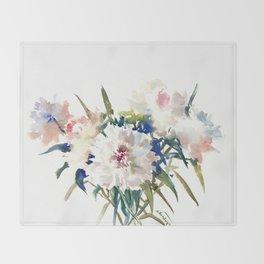 White Peonies, Asian Watercolor design Garden Peonies White lofral art Throw Blanket