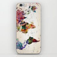 map of the world iPhone & iPod Skins featuring map by mark ashkenazi