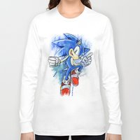 sonic Long Sleeve T-shirts featuring Sonic by Luke Jonathon Fielding