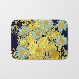 blue daisies and gold Bath Mat