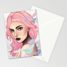 Pink Feather Stationery Cards