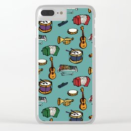 Toy Instruments on Teal Clear iPhone Case