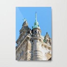 Low angle view of Town Hall in Hamburg Metal Print
