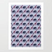 Jirafa y Elefante Patrón Art Print