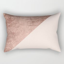 Minimalist blush pink rose gold color block geometric Rectangular Pillow