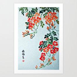 Red Trumpet Flowers Art Print