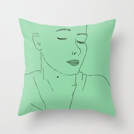 girl with eyes closed Throw Pillow