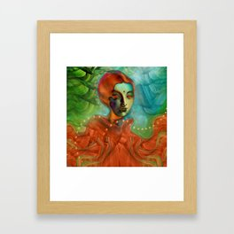 """Exotic woman in green and orange tropical jungle"" Framed Art Print"