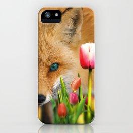fox in tulips iPhone Case