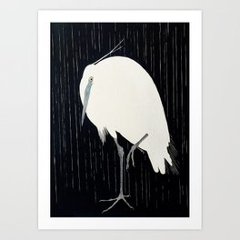 Egret standing in rain - Japanese vintage woodblock print Art Print