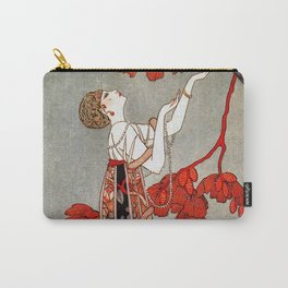 Red Mimosa & Flying Bird, Art Deco Roaring Twenties female portrait painting by George Barbier Carry-All Pouch