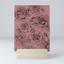 Vintage Rose Ink Sketch Mini Art Print