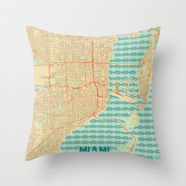 Miami Map Retro Throw Pillow
