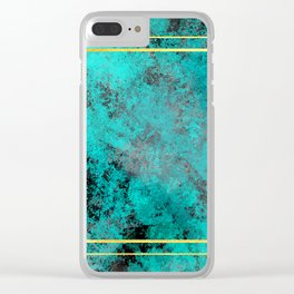 Textured Turquoise Diamonds Clear iPhone Case