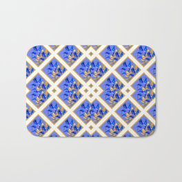 ABSTRACTED BLUE & GOLD PATTERN  CALLA LILIES  DESIGN Bath Mat