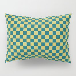 Dark Yellow and Tropical Dark Teal Inspired by Sherwin Williams 2020 Trending Color Oceanside SW6496 Small Checker Board Pattern Pillow Sham