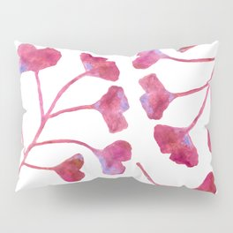 Ginkgo Leaves Watercolor Raspberry Pink on white Pillow Sham