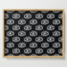 Eye of wisdom pattern - Black & White - Mix & Match with Simplicity of Life Serving Tray