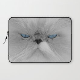 White Angry Cat Laptop Sleeve