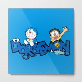 Doraemon Typo Metal Print