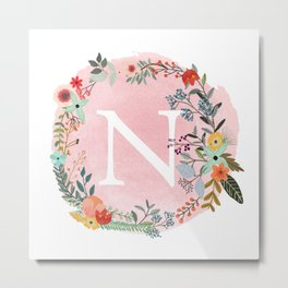Flower Wreath with Personalized Monogram Initial Letter N on Pink Watercolor Paper Texture Artwork Metal Print