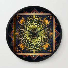 Golden Filigree Mandala Wall Clock