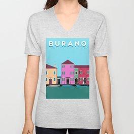 Burano, Italy Travel Poster Block Type Unisex V-Neck