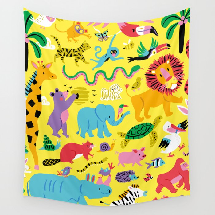 Animal Parade Wall Tapestry