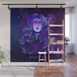 Zodiac neon signs — Aquarius Wall Mural