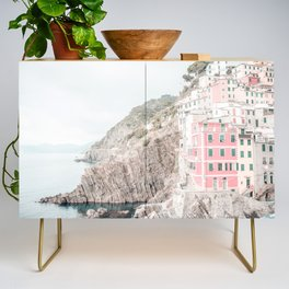 Positano, Italy pink-peach-white travel photography in hd. Credenza