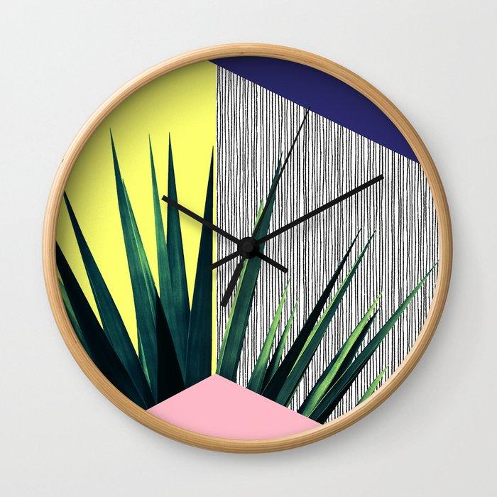 Geometric Leaves Wall Clock