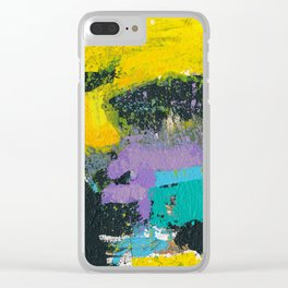 Whisper Yellow Abstract Clear iPhone Case