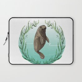 West Indian Manatee in Eel Grass Wreath Laptop Sleeve