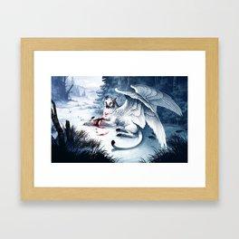Pouncing Snow Framed Art Print