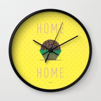 home sweet home Wall Clocks featuring HOME by Analu Louise