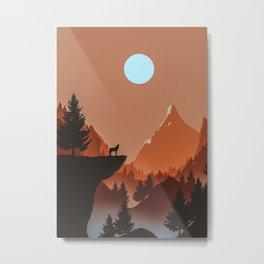 Wolf 2D Scene Metal Print
