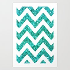 TEAL GLITTER CHEVRON Art Print