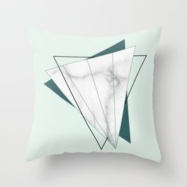 Abstract Geometric Triangle White Marble Mint Green Throw Pillow