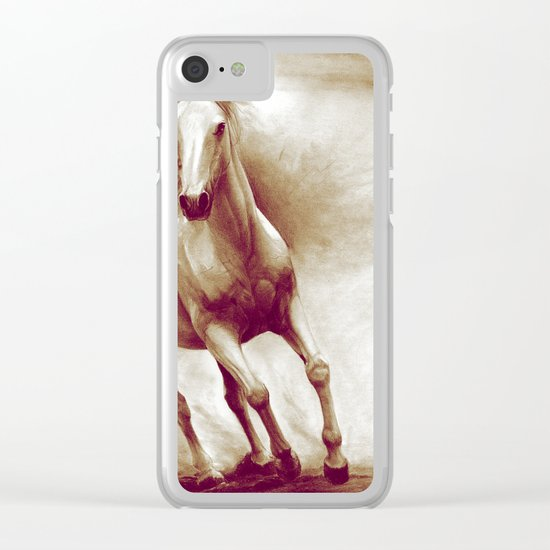 Horse in storm II. recolored version Clear iPhone Case
