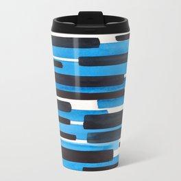 Deep Blue Primitive Stripes Mid Century Modern Minimalist Watercolor Gouache Painting Colorful Strip Travel Mug