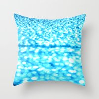 turquoise Throw Pillows featuring Turquoise Glitter Sparkles by WhimsyRomance&Fun