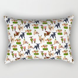 Christmas goats in sweaters repeating seamless pattern Rectangular Pillow