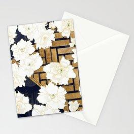 Navy Herringbone with Peony Flowers Print Stationery Cards