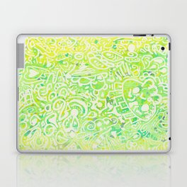 another water color doodle with skull heart flower Laptop & iPad Skin