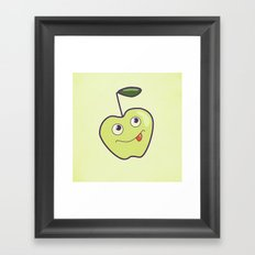 Smiling Green Cartoon Apple Framed Art Print