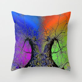 Psychedelic Rainbow Sky with Tree Throw Pillow