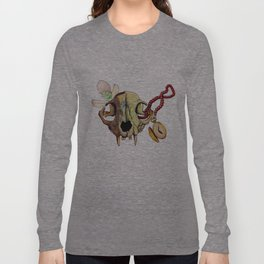 Cat skull and Snowdrop Long Sleeve T-shirt