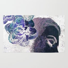 Obey Me: Negative (flower lady graffiti painting) Rug