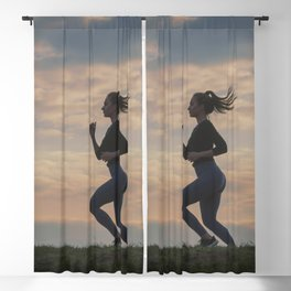 Running woman morning workout. Female Runner. Jogging during sunrise. Workout in a Park. Sporty Blackout Curtain