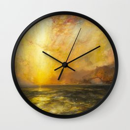 Golden Sunset and Sky over a Troubled Sea landscape painting by Thomas Moran Wall Clock